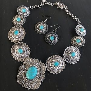 Silver & Turquoise Concho Necklace
